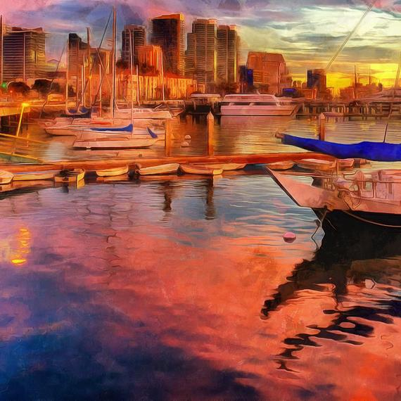 Home Decor Stores San Diego: San Diego Pier Sunset Canvas, Large Art Wall Painting