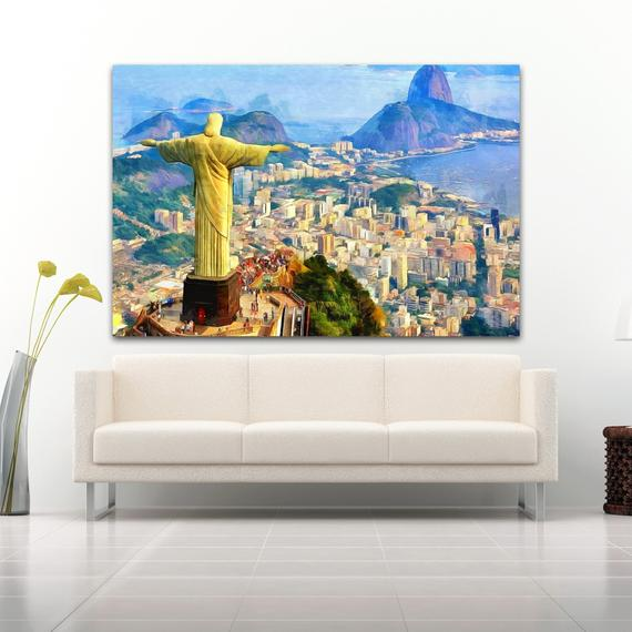 Rio De Janeiro Landscape Canvas Large Art Painting Brazil Poster Wall Art Interior Decor Mountains Room Design Latin Landscape Gift