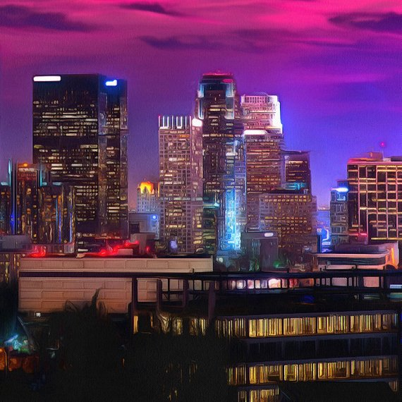 Home Decor Stores Los Angeles: Los Angeles Night Canvas, Large Art Wall Oil Painting, LA