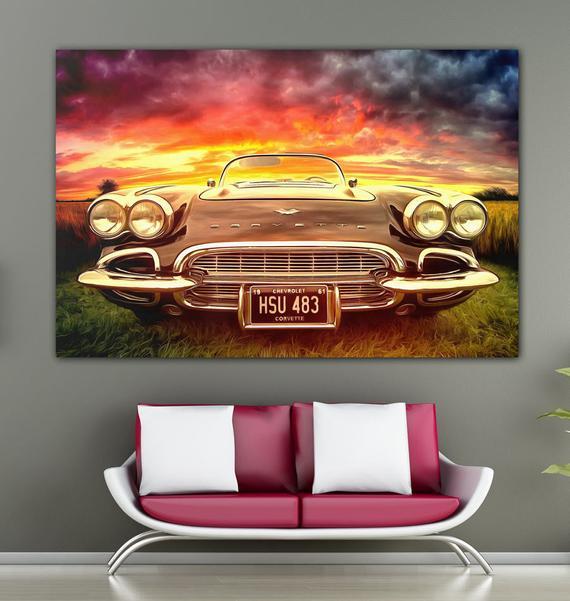 Marvelous Chevrolet Corvette Canvas Large Poster For Teenage Bedroom Brave Car Interior Decor Boys Room Design Desert Car Landscape Oil Painting Download Free Architecture Designs Scobabritishbridgeorg