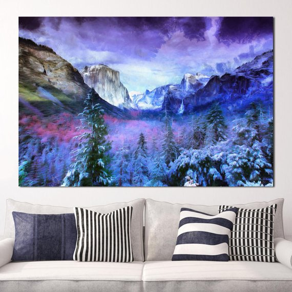 Winter Yosemite Canvas Large Art Wall Painting Mountains Poster Nature Interior Decor Usa Landscape Painting National Park California