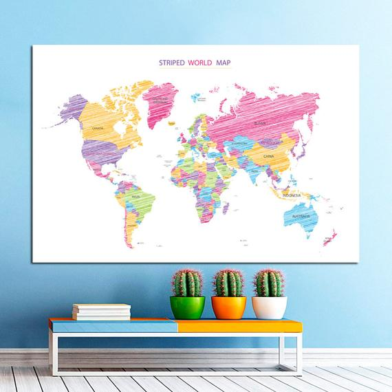 Cute World Map Canvas, Large Art painting, Map Poster, Wall art ...