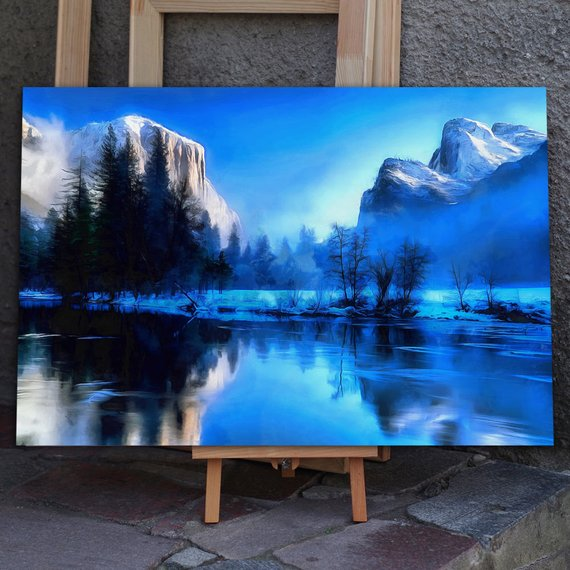 Winter Yellowstone National Park Canvas Large Art Wall Painting Mountains Poster Nature Interior Decor Usa Landscape Winter Painting