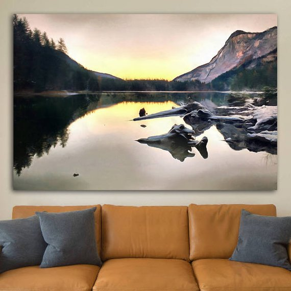 Italian Mountains Canvas Italy Large Wall Art Italian Lake Picture Italian Lake Painting Italian Poster Italian Colorful Landscape