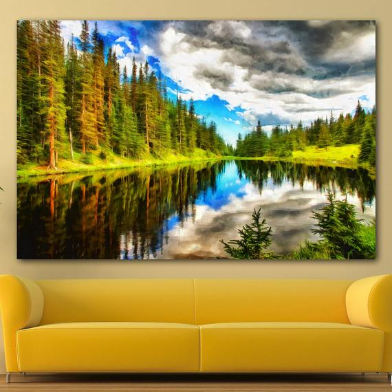 Lake Irene Canvas Large Art Wall Painting Forest Poster Nature Interior Decor Usa Landscape Painting Douglas County Minnesota