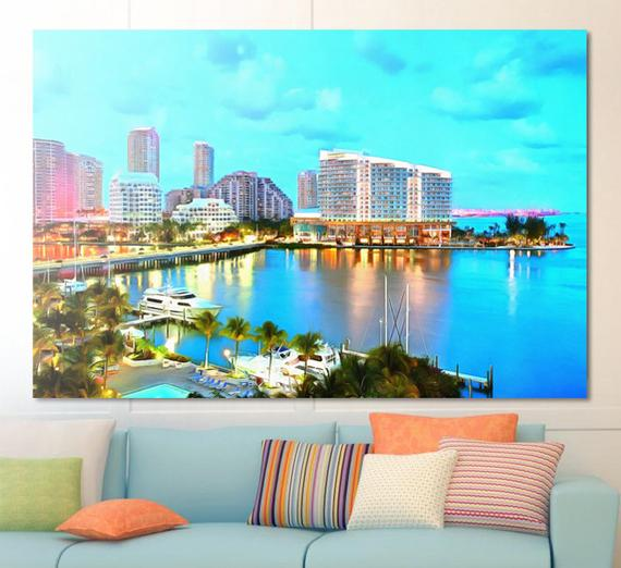 Azur Evening In Miami Canvas, Large Art Painting, Miami
