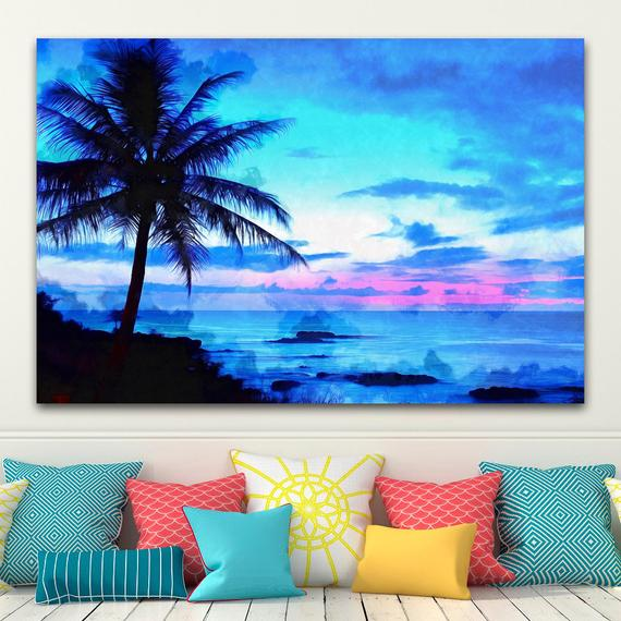 Hawaii Beach Canvas Large Art Wall Painting Ocean Beach Poster Landscape Interior Decor Usa Urban Landscape Palm Tree