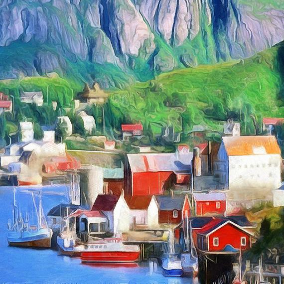Lofoten mountain Landscape Canvas Large Wall Art Poster Norway sea Nature Interior Decor Gift