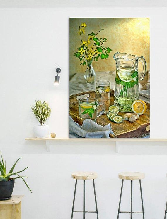 Lemonade Canvas Fruit Art Kitchen Wall Print Poster Food Painting Printbro