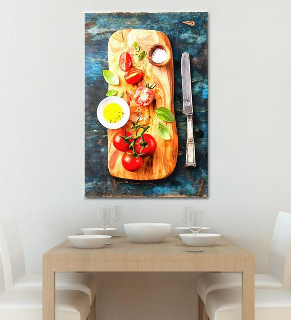 Tomato Trio Food Kitchen Oil Painting Archival Giclee Print Poster Wall Art