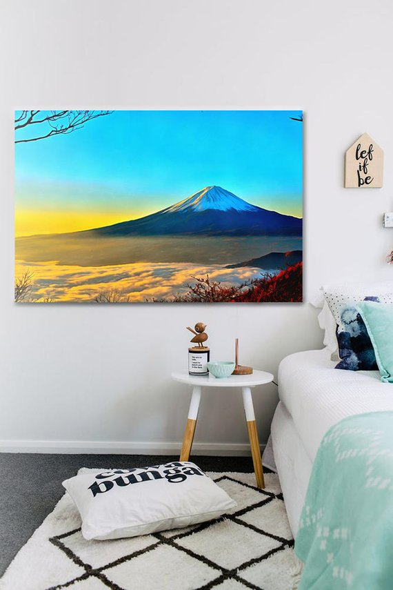 Mount Fuji Canvas Mountains Wall Art Mountains Poster Japan Print Colorful Painting Nature Painting Mountains Picture