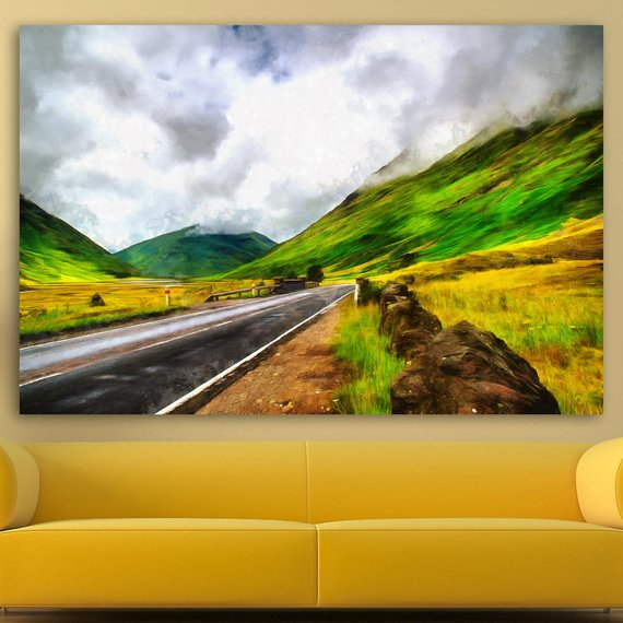 Road In The Mountains Canvas Large Art Painting Nature Poster Wall Art Mountains Interior Decor Room Design Painting