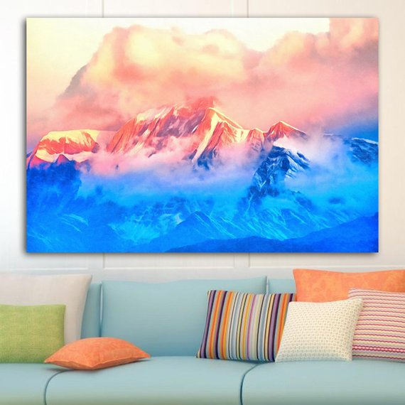 Pink Blue Mountains Canvas Mountains Wall Art Mountains Poster Pink Blue Print Colorful Painting Nature Painting Mountains Picture