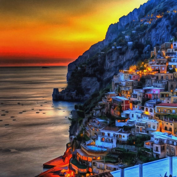 12x6ft Naples Sea Coast Beautiful Landscape of Italy Background Cityscape House Photography Backdrop Mountain River European Architecture Mediterranean Scenery Italian Vacation Tourism Props